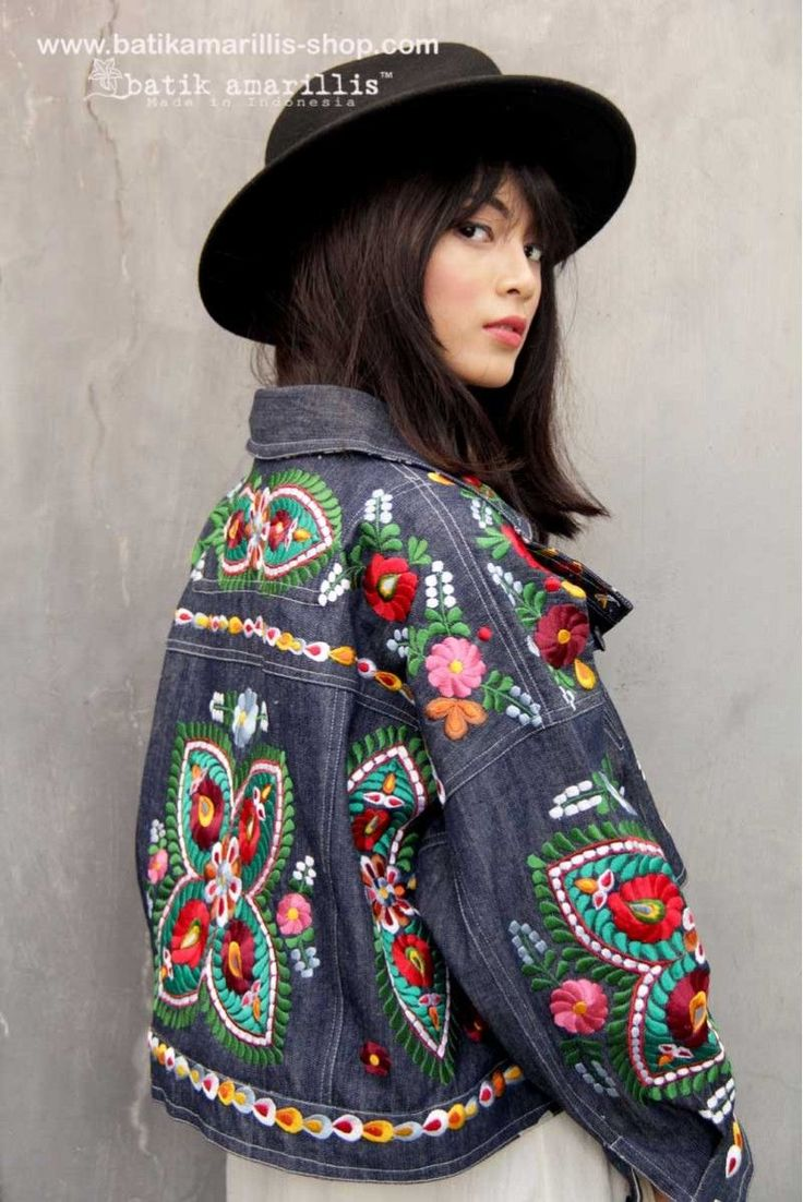 what a great way to upcycle-all that embroidery! Oh how I wish I had access to a machine for a few projects! Batik Amarillis made in Indonesia ~~~~Our version to adapt Rock n' Roll style ,upcoming collection Batik Amarillis's Traveller Jacket features Hungarian's Matyo Embroidery style on denim and tenun Gedog Tuban