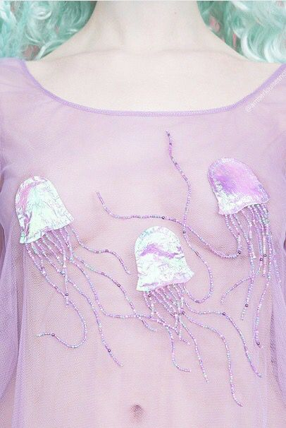Love this sheer and beaded jellyfish top by Amber Louise Snow x no bra needed