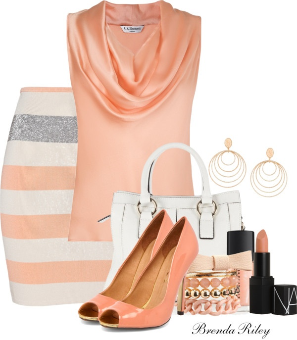 "Love this. I just don't care for the stripes going that direction. ....... ""Peach"" by brendariley-1 on Polyvore"
