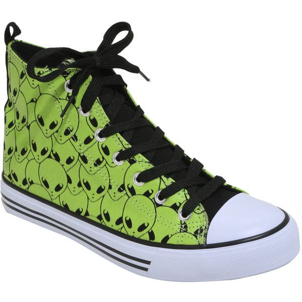 Green Alien Hi-Top Sneakers Hot Topic ($18) ❤ liked on Polyvore featuring shoes, sneakers, green sneakers, green high top shoes, green trainers, high top shoes and patterned shoes