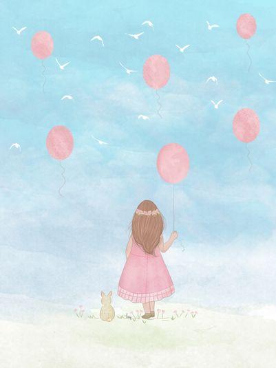 balões, illustration, girl, menina, fofo, coelhinho, céu, infantil, crianças, kids, natureza, summer, arte digital, pássaros, cute, delicado, florzinha