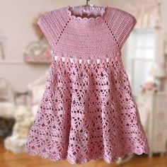 Pink Lace Dress Crochet Pattern Flower Girl by CrochetMonkie