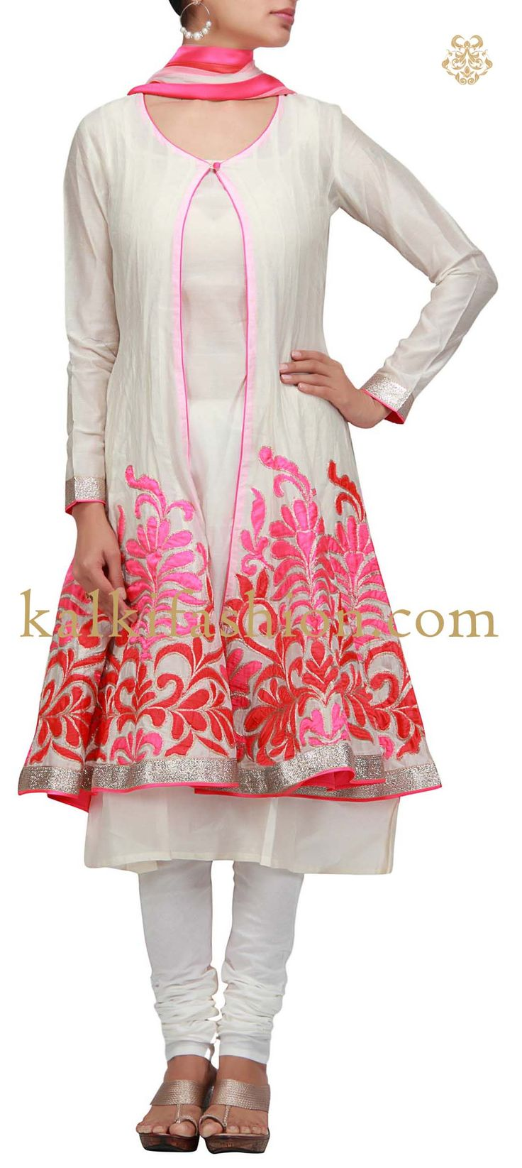 Buy it now http://www.kalkifashion.com/anarkali-dress-in-white-with-patch-work.html Anarkali dress in white with patch work