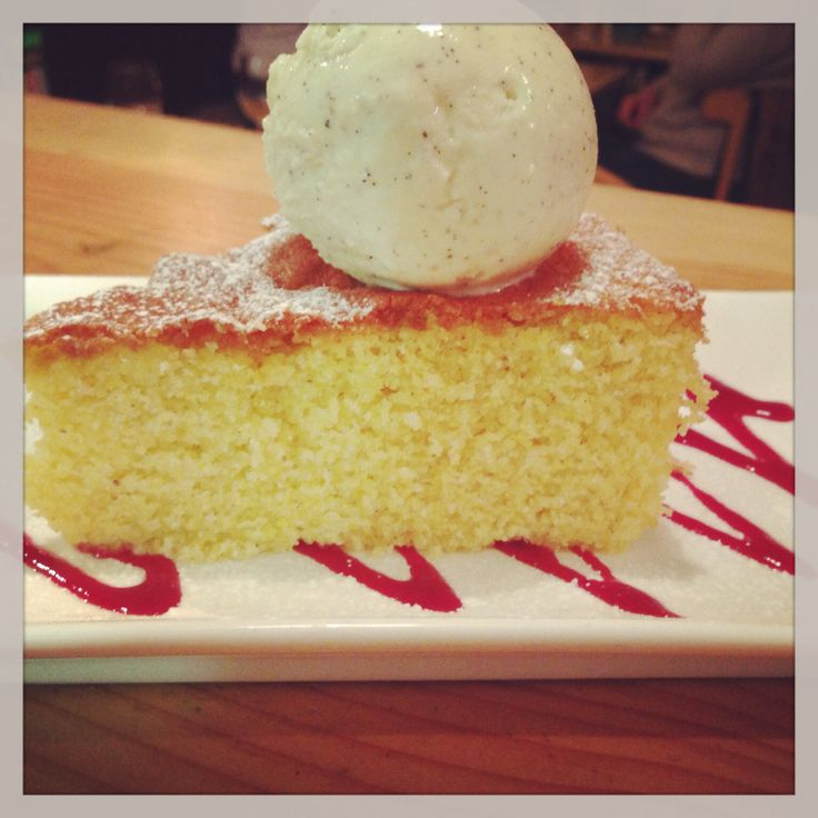 Torte Vanilla and almond polenta cake.  Served with a scoop of homemade gelato!! Can't beat a bit homemade Italian cake with a freshly ground Italian coffee!!