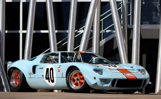 Competition-bred 1968 Ford GT40 Gulf/Mirage Lightweight Racing Car, chassis P/1074, raced extensively throughout 1968 and was later used as the camera car for Steve McQueen's legendary film Le Mans - RM Auctions' highly anticipated Monterey sale, August 17–18, in California.