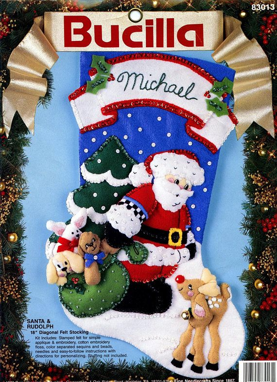 Bucilla ~ Daisy Kingdom Santa & Rudolph ~ 18 Felt Christmas Stocking Kit #83013. This is a discontinued 1993 pattern so if you love it please make sure you dont miss the chance to purchase this rare and hard to find kit. Santa and Rudolph seem to be discussing the best way to
