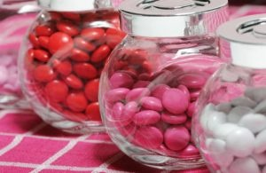 Pink wedding sweet jars