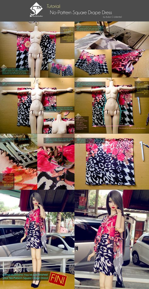 5 Atelier Tutorial: No-padrão quadrado drapejar Dres por Ylden
