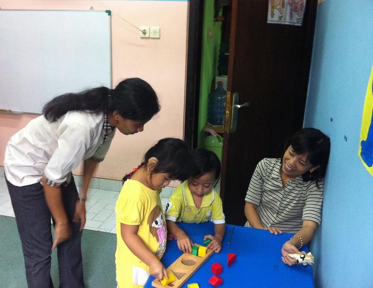 Speech Therapy at Swara Swari Institute Denpasar, using hearingaid donated by Dutch people.