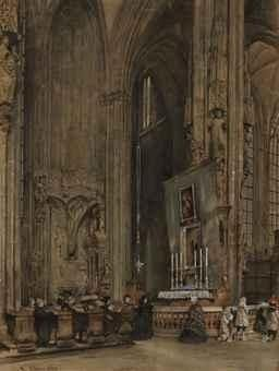 Artwork by Rudolf von Alt, The interior of Saint Stephen's Cathedral, Vienna, Made of pencil and watercolor, heightened with white