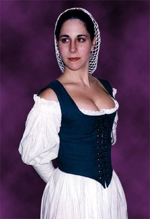 Classic Bodice;  the proper look and shape for the Elizabethan/Renaissance period. The bodice is shaped to cinch the waist and lift the bosom upward to create a rounded bustline peeking over the top.
