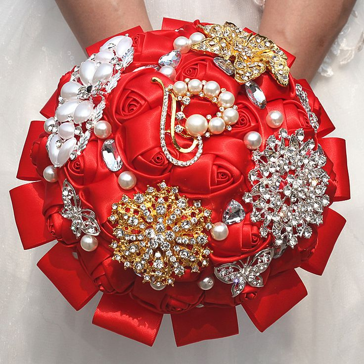 ==> [Free Shipping] Buy Best Gorgeous Red Ribbon Flowers Bridal Wedding Bouquet Luxury Peacock Gold&Silver Diamond Stitch Wedding Bouquets W2296 Online with LOWEST Price | 32805184139