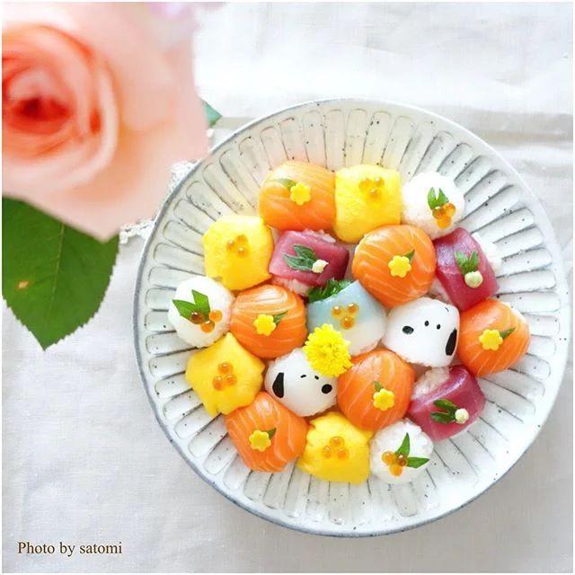 スヌーピー手まり寿司   peanuts sushi roll