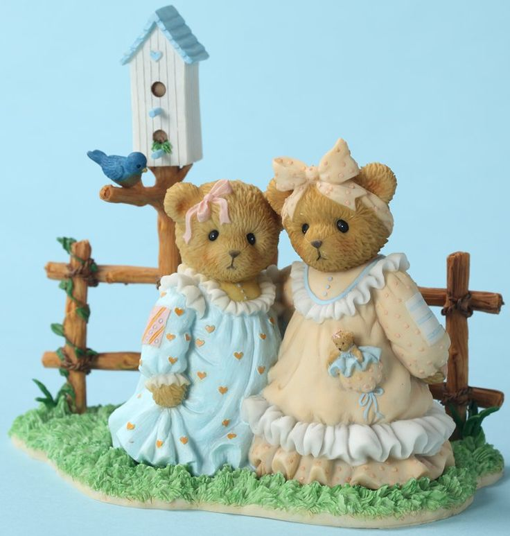 Cherished Teddies: Alice and Greta and Birdhouse - Enjoy Each Beautiful Moment