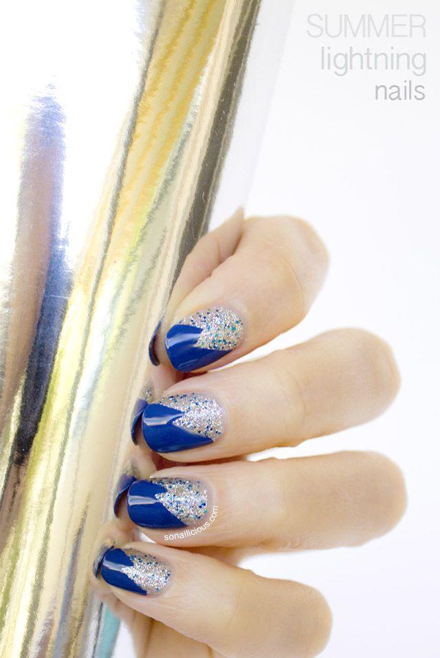 Summer Lightning glitter nails - Day 15