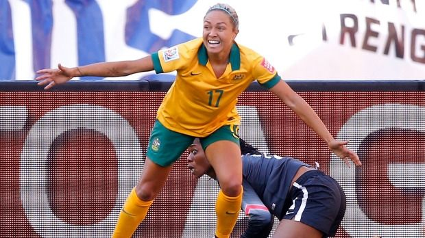 Matilda's Kyah Simon celebrates after her second goal against Nigeria in Winnipeg on Friday.