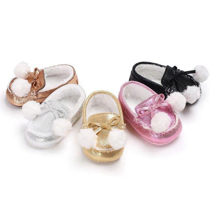 Baby Girl Winter Warm Cute Pom-Pom  First Walker Shoes
