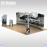 20ft Tradeshow Booth Advertising Tension Fabric Backwall With Graphics,High Quality Portable Stretch Banner Display Exhibit
