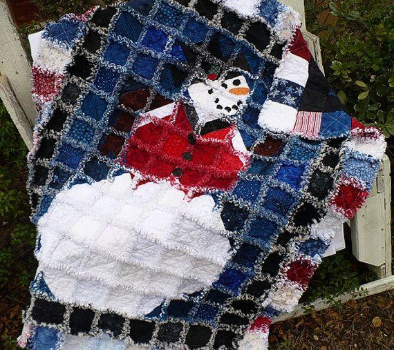 96 best Large Quilts images on Pinterest | Lap quilts, Christmas ... : snowman rag quilt pattern - Adamdwight.com