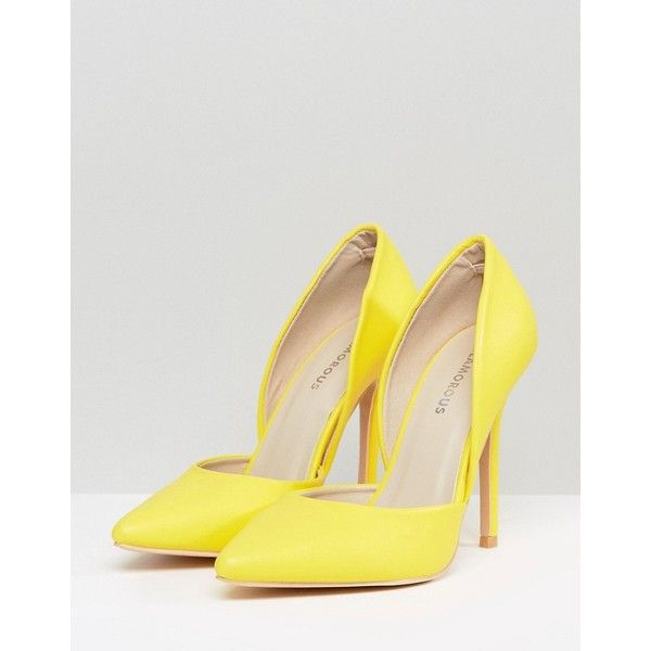 Glamorous D'Orsay Yellow Cut Out Court Shoes (1 150 UAH) ❤ liked on Polyvore featuring shoes, pumps, print pumps, yellow high heel pumps, d'orsay pumps, d orsay pumps and pointed-toe pumps