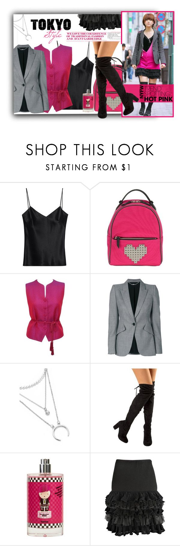 """""""NYFW : Hot Pink - Harajuku Inspired"""" by atikazahra on Polyvore featuring Galvan, Les Petits Joueurs, Burberry, Alexander McQueen, StreetStyle, harajuku, contestentry, tokyo and NYFWHotPink"""