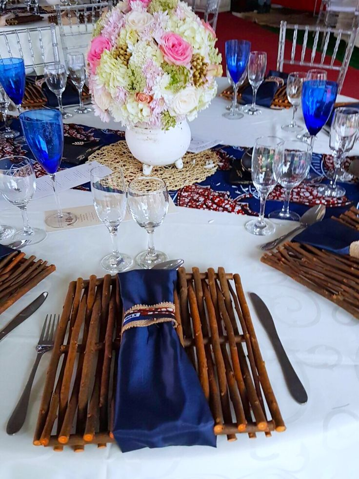 African Traditional blue cream  gold wedding decor by Shonga Events  ShongaEvents in 2019