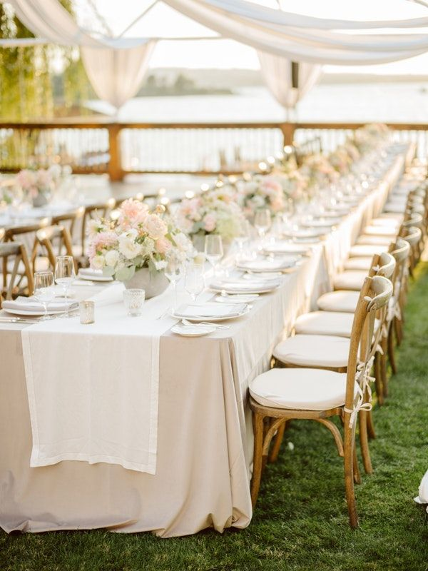 La Tavola Fine Linen Rental Velvet Beige With Hemstitched White Table Runners And Tuscany N Wedding Table Linens Wedding Reception Inspiration Western Wedding