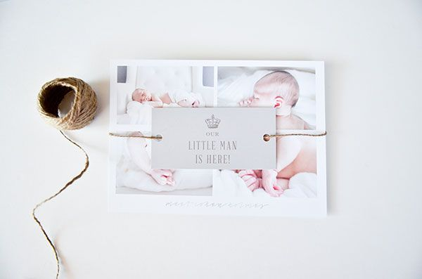 Oh So Beautiful Paper: Cohen's Silver and Jute Birth Announcements