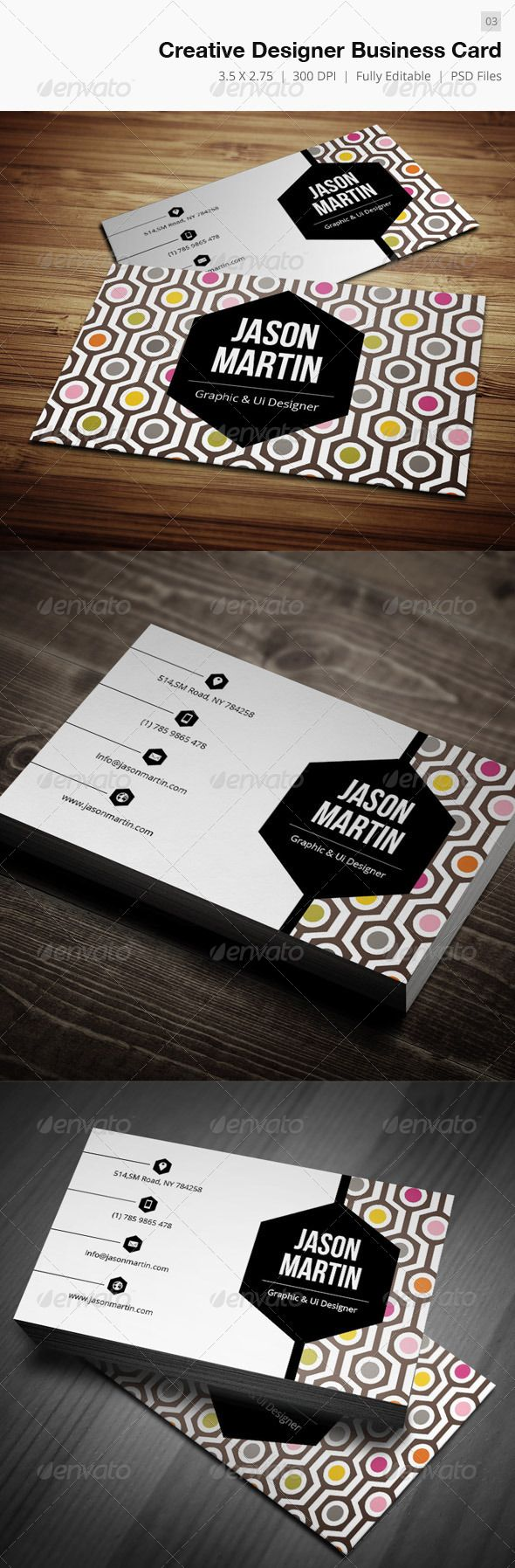 A nice use of contrasting geometric shapes with the hexagons and circles. It is certainly bold, but not overwhelming. I think it's because of the lightly muted colors. I'm assuming the designer is Jason Martin on the card. #design #stationery