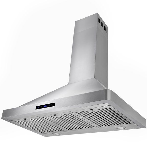 This 36 Wall Mount Range Hood Features A Contemporary Euro Design In Glass And High Quality Stainless Steel The W Wall Mount Range Hood Range Hood Wall Mount