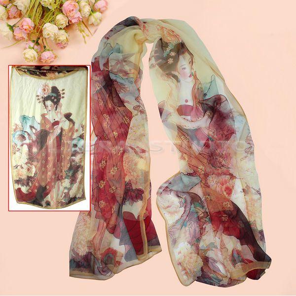 Girl's Feminine Chinese Retro Vintage Beauty Print Georgette Chiffon Shawl Scarf