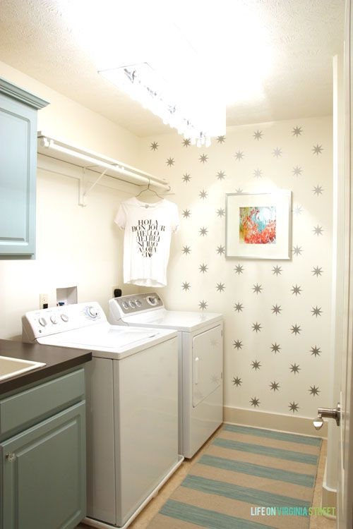 DIY Laundry Room Makeover with White walls, stars, painted counter tops (using spray paint) and blue cabinets (painted with chalk paint).
