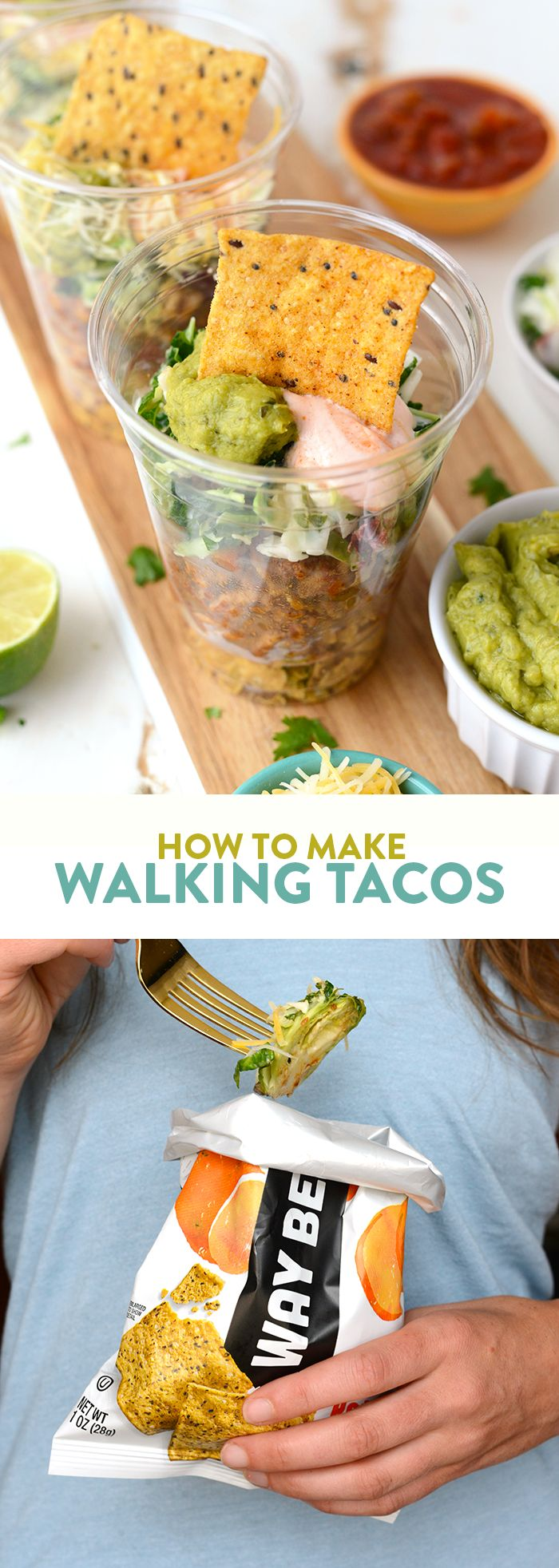 Up your walking taco game with my favorite Way Better Snacks, lean ground turkey taco meat, and a delicious kale slaw topped with all of your favorite fixings!