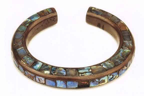 Tlingit copper and abalone bracelet, prior to 1896.   From