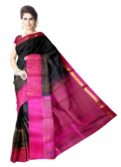 Black and Pink Kuppadam Pattu Saree & Blouse Product code: UHUP11S003 Retail price: 8,762/- Sale price : 8,344/-
