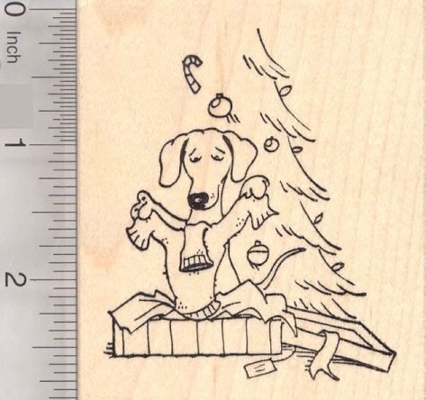 Dachshund Dog Christmas Sweater Rubber Stamp