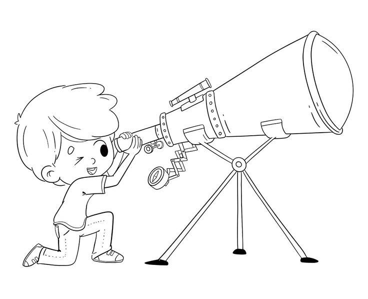 Download Boy looking through telescope - Coloring page in 2020 | Coloring pages, Color, Telescope