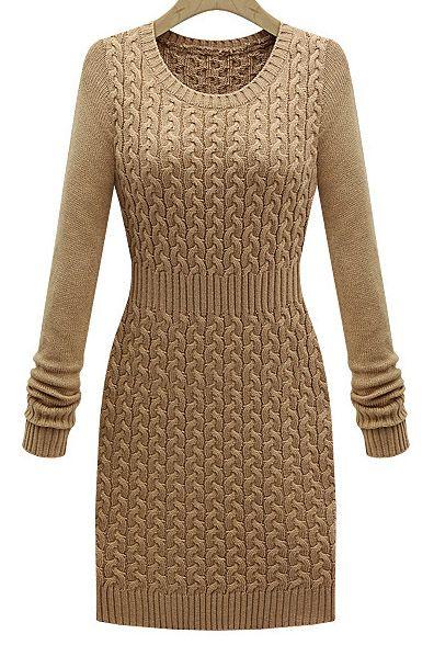 Khaki Long Sleeve Cable Knit Sweater Dress - Sheinside.com