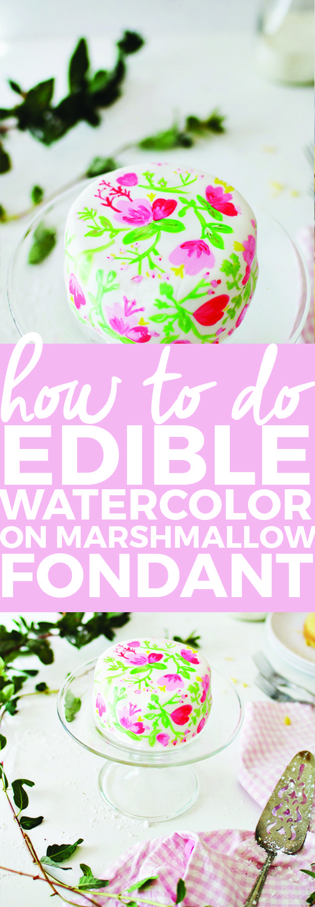How To Do Edible Watercolor On Marshmallow Fondant | cake decorating tips, how to use edible watercolor, how to paint fondant, decorating cakes, diy cake decorating || The Butter Half  #cakedecorating  #ediblewatercolor #cakedecor  via @thebutterhalf