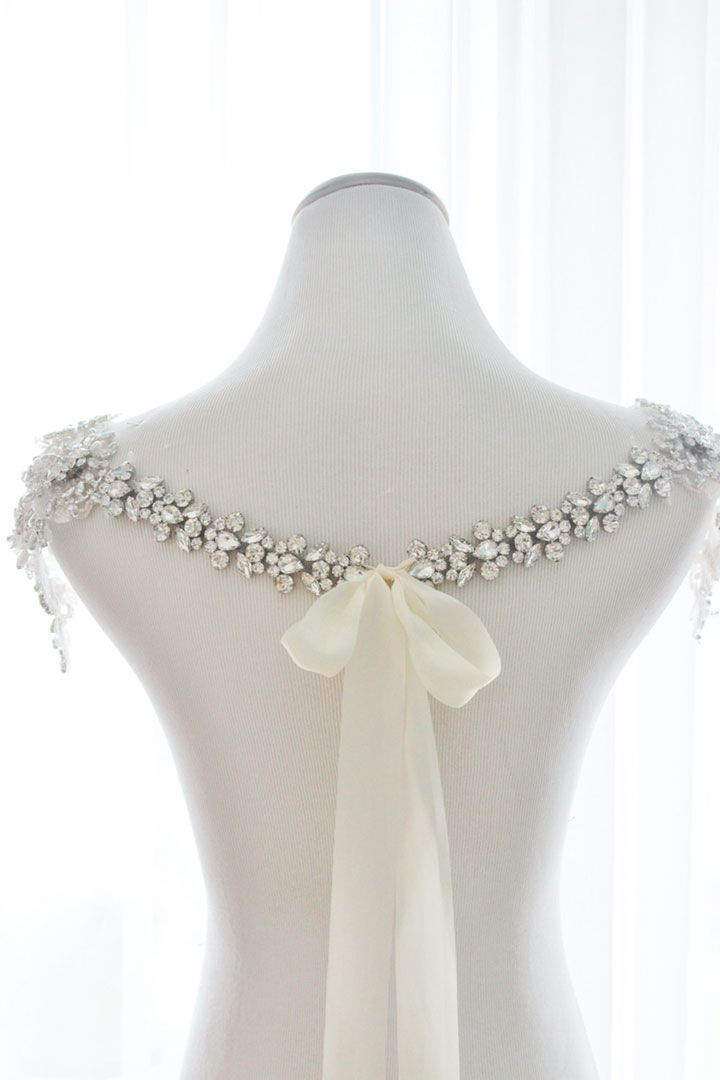 Back view of handmade Grace Bridal Shoulder Necklace with rhinestones, crystal detailing and tiny pearl accents with silk ribbon tie closure.