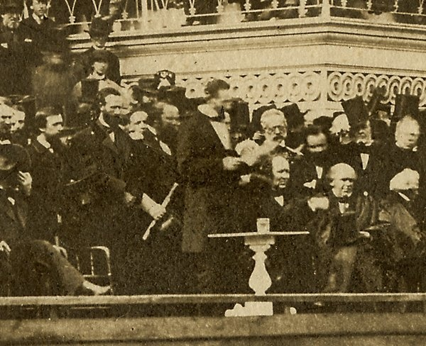 Close up detail of President Lincoln delivering his Second Inaugural speech. Photograph attributed to Alexander Gardner.  *s*