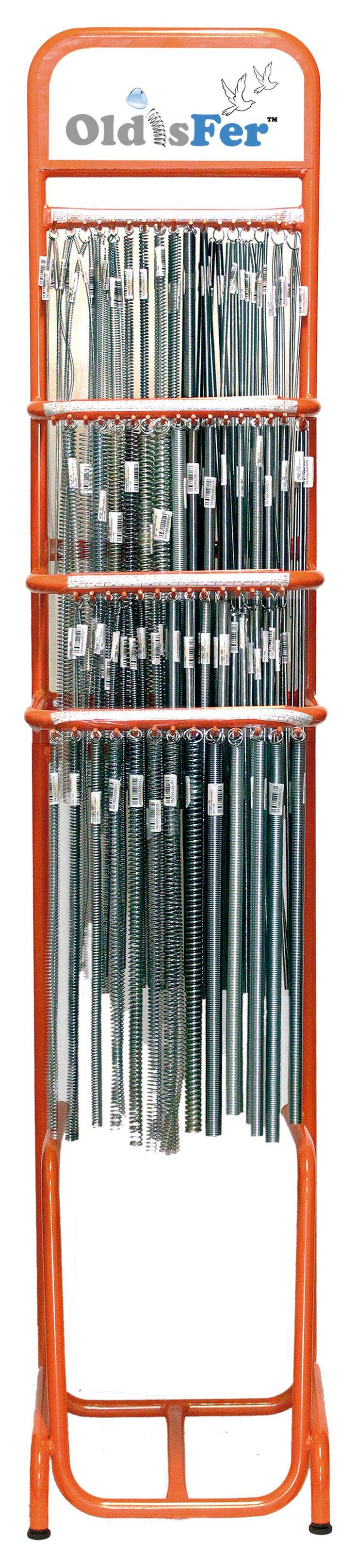 Expositor Frontal Muelle de Compresión y Tracción de 500 mm Inoxidable. 56 tipos de muelles diferentes. 148 unidades en tota. También se sirven sueltos. Fabricado en alambre de acero Inoxidable AISI 302. EN 10270-3 1.4310X10CrNi18-8. Código completo del expositor 111