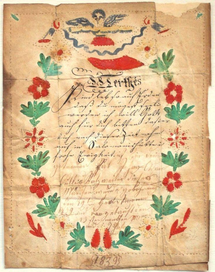 ALSATIAN FRAKTUR - GOETTELBRIEF / TAUFBRIEF / TAUFSCHEIN - HANDWRITTEN, 1839 #NaivePrimitive