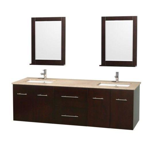 "Wyndham Collection Centra 72"" Double Bathroom Vanity for Undermount Sinks - Espresso WC-WHE009-72-DBL-VAN-ESP-"