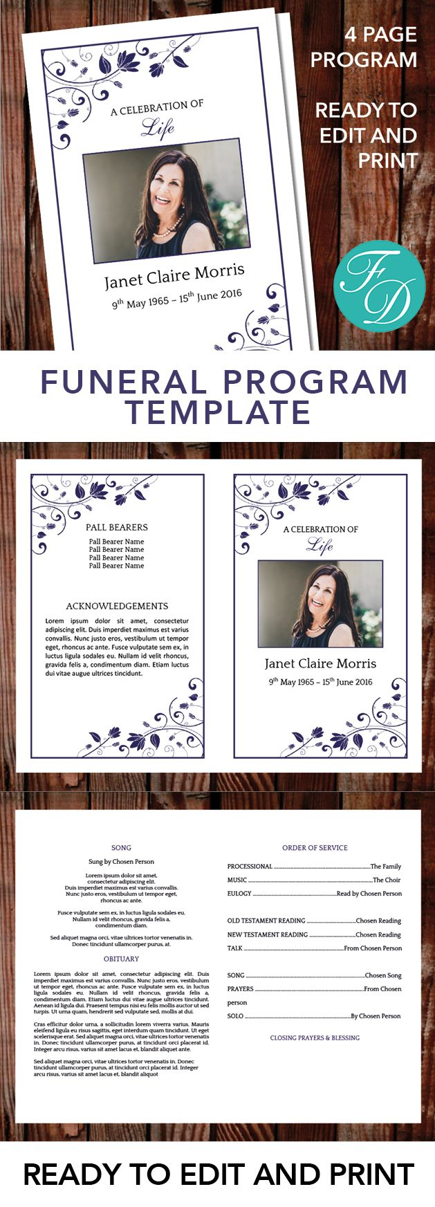 Blue Printable Funeral program ready to edit & print Simply purchase your funeral templates, download, edit with Microsoft Word and print. #obituarytemplate #memorialprogram #funeralprograms #funeraltemplate #printableprogram #celebrationoflife