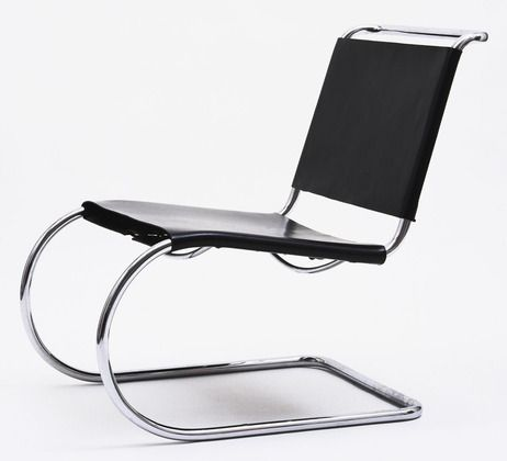 MR Side Chair Ludwig Mies van der Rohe (American, born Germany. 1886–1969)  1927. Chrome-plated steel tubing and leather, 30 1/2 x 22 1/2 x 33 1/2 (77.4 x 57.1 x 85.1 cm). Manufactured by unknown. Gift of Philip Johnson. © 2013 Artists Rights Society (ARS), New York / VG Bild-Kunst, Bonn