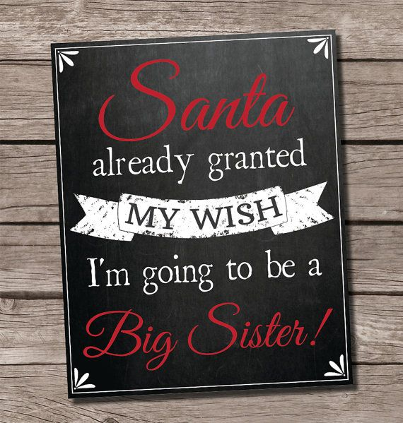 Christmas pregnancy announcement, holiday pregnancy announcement, santa granted my wish, big sister pregnancy announcement, big brother pregnancy announcement, pregnancy announcement chalkboard sigb by SweetfaceCelebration on Etsy