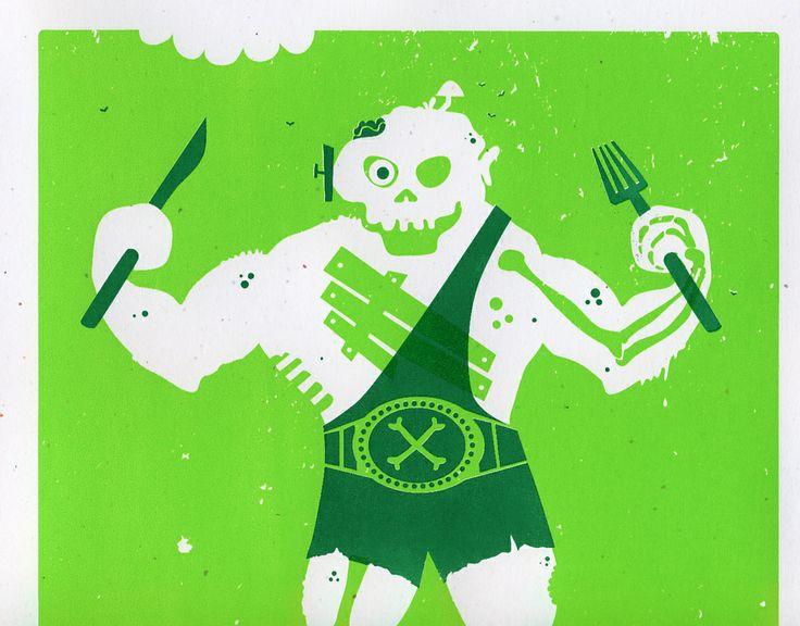 Silkscreened Zombie Wrestler