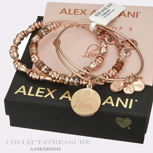 Authentic Alex and Ani Love Set of 3 Shiny Rose Gold Bangles #AlexandAni #Bangle