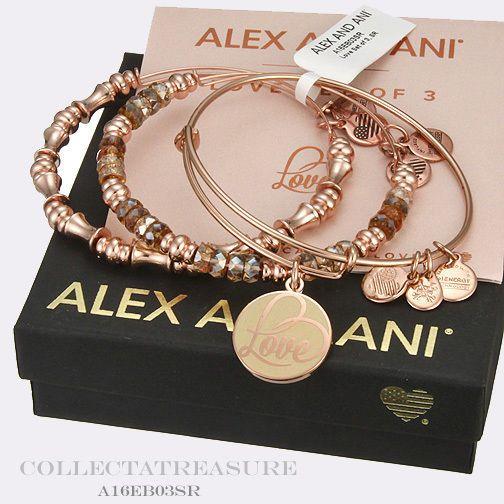 Authentic Alex and Ani Love Set of 3 Shiny Rose Gold Bangles #AlexandAni #Bangle
